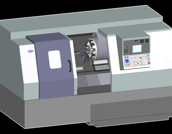 3D Lathe Machine Model