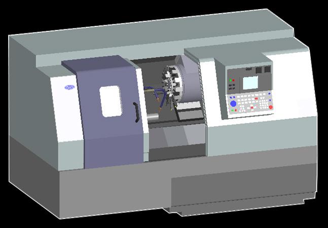 3D Lathe Machine Model